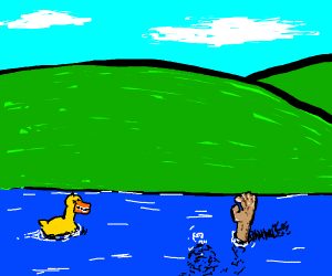 Duck laughs at drowning man