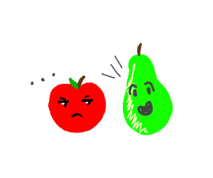 Pear annoying an apple