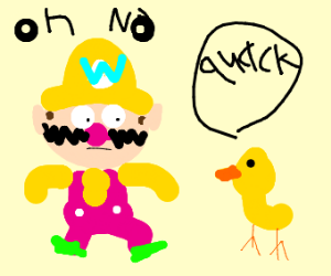 Wario is scared by a green duck