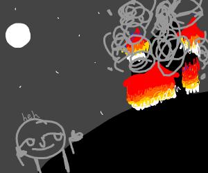 lenny stick figure commits arson