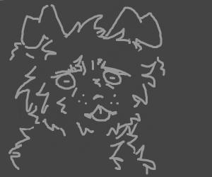 A scruffy grey dog with a worried look