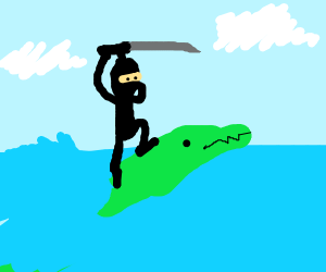 Ninja riding green Dino-Dolphin