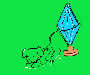 a dog tied to crystals
