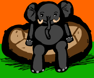 Elephant sitting on a potato couch