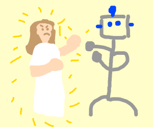 jesus fights a robot