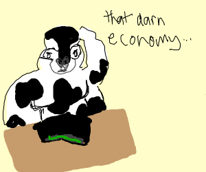 giant gorilla cow complaining about money