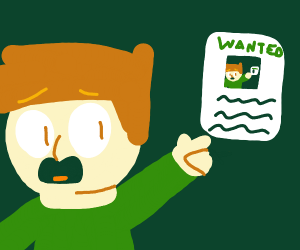 Man points to wanted poster