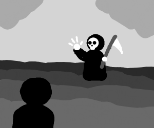 Death confronts a kid