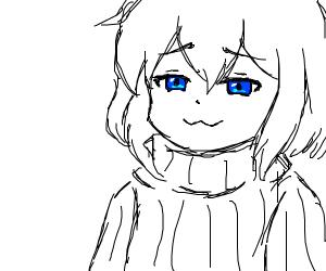 cute small smug girl in oversized sweater