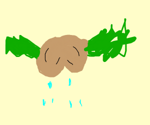 sad nut with green wig