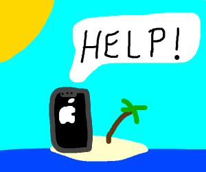 iPhone left on deserted island