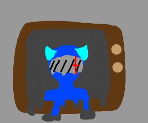 Melting TV with a blue creature on the screen