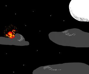 Firebird behind a cloud, at night