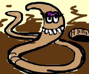 earth worm with eyelashes and lots of teeth