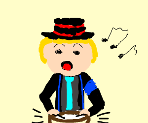 Boy Plying Drums and Singing