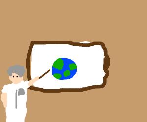 Science teacher explaining earth