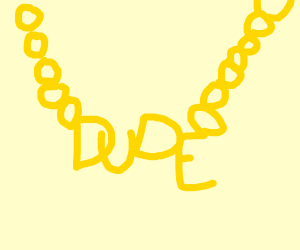 gold chain with dude written