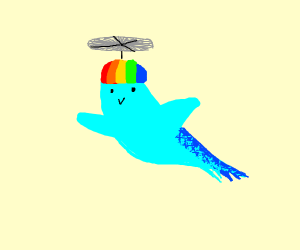 Bird flys up high with his propeller hat