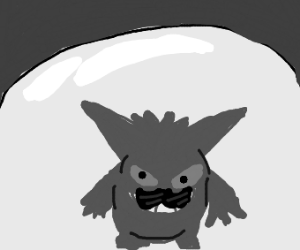 gengar with a mustache in a glass dome