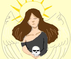 Angel carying a skull