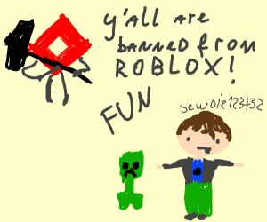 Roblox bans Pewdiepie minecraft and fun