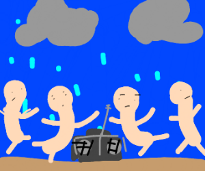 4 people dancing in the rain