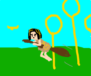 Cleopatra flying on a broom