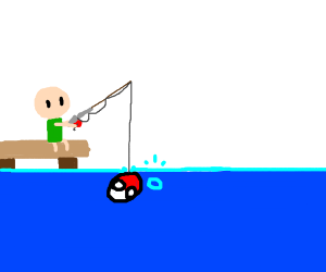 Man fishing with Polandball as a lure