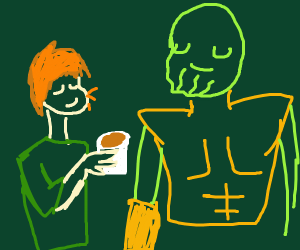 Shaggy having coffee with Thanos