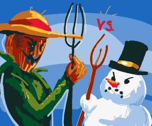 Scarecrow vs. snowman