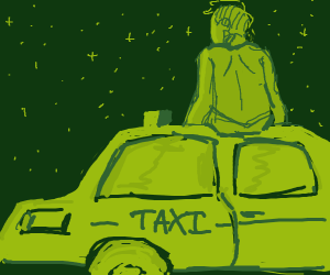 Man sits on top of taxi