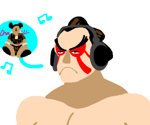 Honda from Street Fighter listening to music