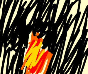 A flame burning alone in the dark