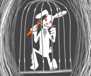 rabbit in a cage with carrot