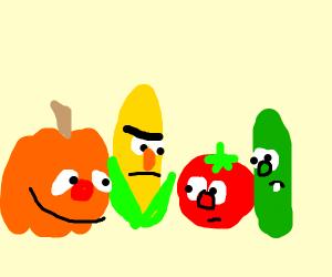 ernie the pumpkin and burt the corn. (Veg Tal