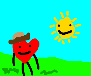 Farmer heart and sun thats behind him isnt it
