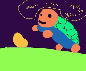 Turtle is going to hug the potato