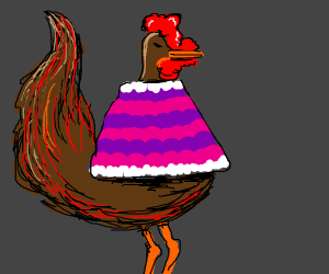 a rooster wearing a snazzy sweater