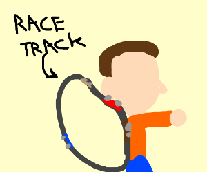 Man carries an entire race track on his back