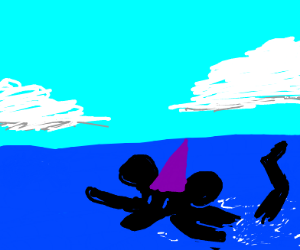 Mickey mouse wolf with a purple hat, swimming