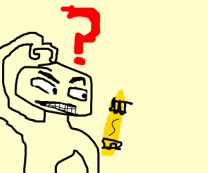 Confused at yellow crayon