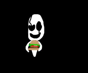 gaster eating hamburger