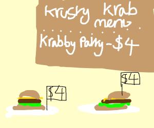 A krabby patty is 4 dollars