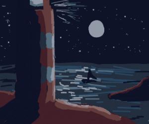 A silver washed moonlit landscape. Quiet love