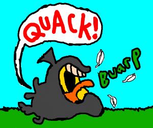 evil garbage bag eats duck
