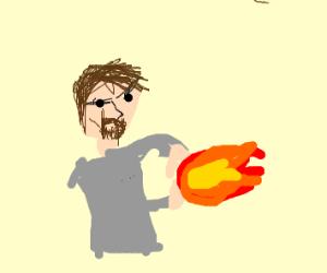 white man with goatee summons fireball
