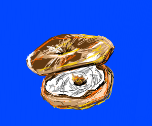 A bagel stacked on top of a bagel