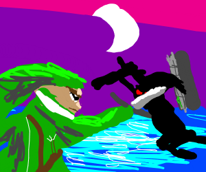 link and dark link stab each other