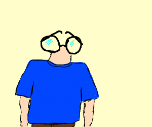 Man with glasses for face