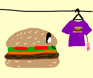 Burger looking at shirt for a sale